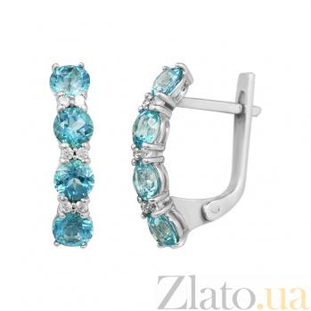 Серебряные серьги Аэлита с голубыми топазами и кристаллами Swarovski  000081830