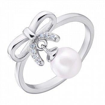 Серебряное кольцо с жемчугом и фианитами 000132617