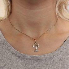 Золотой крестик Красота веры с фианитами на расширяющихся краях