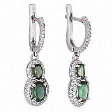 Серебряные серьги-подвески с зеленым кварцем Антик
