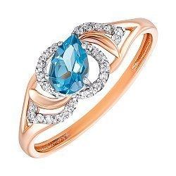 Золотое кольцо в комбинированном цвете с топазом и фианитами 000137777