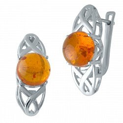 Серебряные серьги с янтарем 000128543