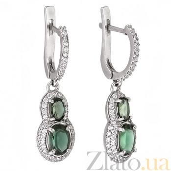 Серебряные серьги-подвески с зеленым кварцем Антик 2152/9р зел кварц