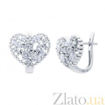 Серьги из серебра с цирконами Сияние любви AQA--XJT-0023-E