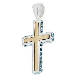 Серебряный крест Небесная глазурь с золотыми вставками и кристаллами SWAROVSKI 000008267