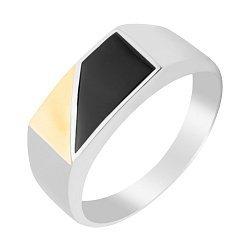 Серебряный перстень-печатка с черным ониксом и золотой накаладкой 000116143