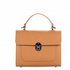 Кожаная деловая сумка Genuine Leather 8686 коньячного цвета на молнии с клапаном