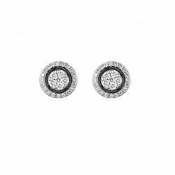 Серьги из белого золота Гейл с бриллиантами и эмалью