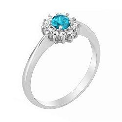 Серебряное кольцо с ярко-голубым фианитом 000027362
