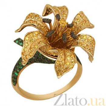Кольцо из желтого золота с зеленым и желтым цирконием Нилуфер VLT--ТТ1088-1