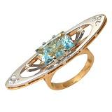 Золотое кольцо с топазами Венеция