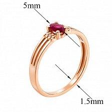 Золотое кольцо Марсела в красном цвете с рубином и бриллиантами