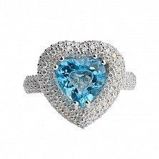 Золотое кольцо Драгоценная любовь с голубым топазом и бриллиантами