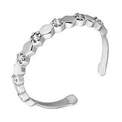 Фаланговое кольцо из белого золота с фианитами 000121366