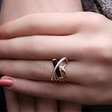 Золотое кольцо с агатом и фианитами Сплетение судеб