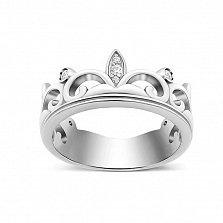 Серебряное кольцо-корона Монарший знак с фианитами