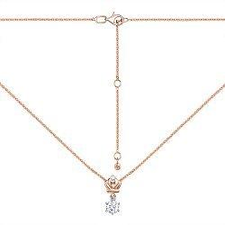 Колье из красного золота с подвеской-короной и кристаллами Swarovski 000134333