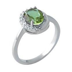 Серебряное кольцо с султанитом и фианитами 000128336