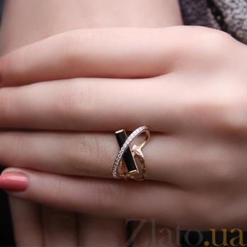 Золотое кольцо с агатом и фианитами Сплетение судеб 000024518