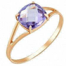 Золотое кольцо Кушон с корундом александрита