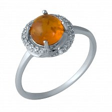 Серебряное кольцо Венди с узором, янтарем и фианитами