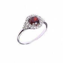 Серебряное кольцо Лили с цветочком, гранатом и фианитами