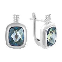 Серебряные серьги с топазом мистик 000057797