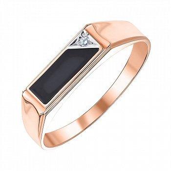 Перстень-печатка из красного золота с агатом и фианитом 000001101