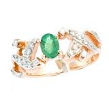 Золотое кольцо в красном цвете с изумрудом и бриллиантами Сенс