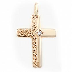 Золотой крест с бриллиантом Чудо небес 000035030
