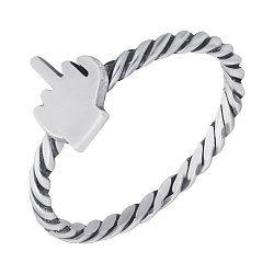 Cеребряное кольцо  F#ck you с чернением 000103153