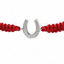 Детский плетеный браслет с серебряной вставкой и фианитами Подкова на удачу, 10х20см