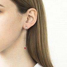 Серебряные серьги-подвески Кровавые сердца с красной эмалью и цепочками