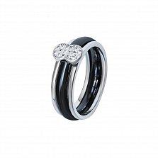 Кольцо из черной керамики и серебра Манчестер с фианитами
