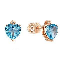 Серьги-пуссеты из красного золота с голубыми топазами и цирконием 000131504