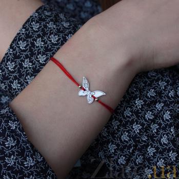 Шелковый браслет Бабочка с серебряной вставкой 000022695