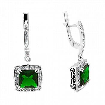 Серебряные серьги-подвески с зеленым алпанитом, белыми фианитами и черной эмалью 000087710