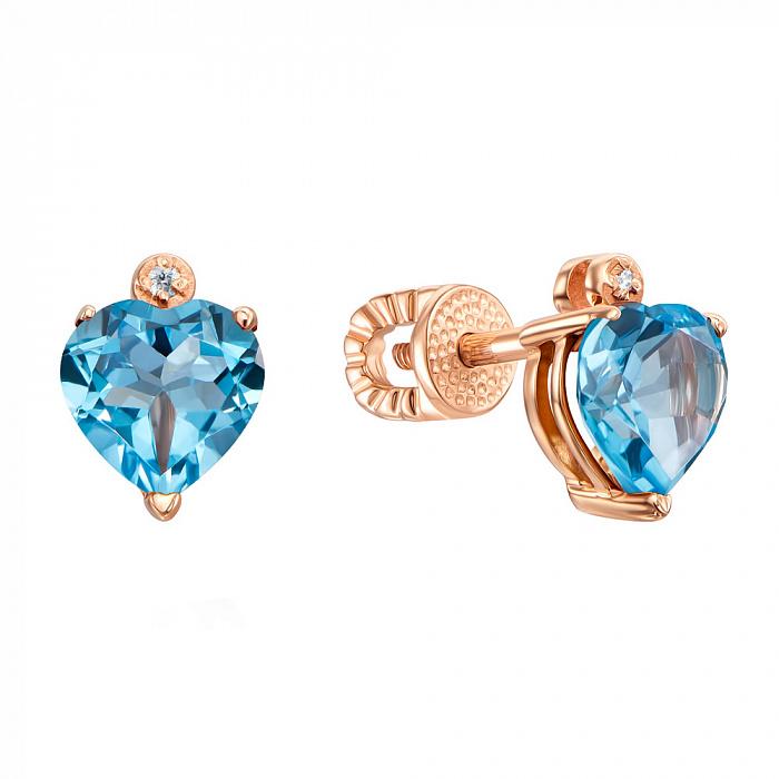 Серьги-пуссеты из красного золота с голубыми топазами и цирконием 000131504 000131504
