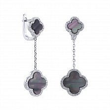 Серебряные серьги-подвески Монна с темно-серым перламутром и белыми фианитами в стиле Ван Клиф