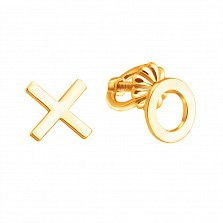 Серьги-пуссеты из желтого золота Крестики Нолики в стиле минимализм