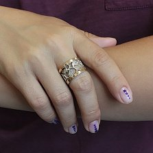 Кольцо из серебра Барбара со вставками золота