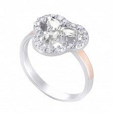 Серебряное кольцо Патрисия с вставкой золота и фианитами