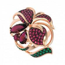 Золотое кольцо Сказочный цветок с рубинами и разноцветными фианитами