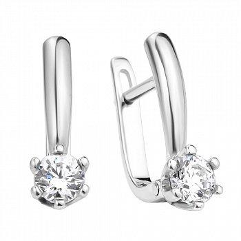 Классические серебряные серьги с белыми фианитами 000106874