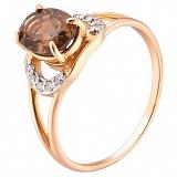 Кольцо из красного золота с раух топазом и бриллиантами
