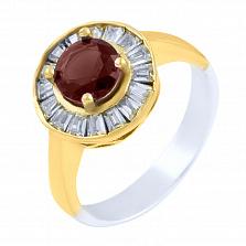 Кольцо из серебра и бронзы Анабель с рубином и фианитами