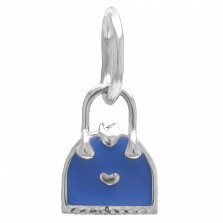 Серебряный кулон Дамская сумочка с синей эмалью