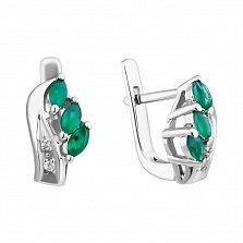 Серебряные серьги Марина с зелеными агатами и фианитами