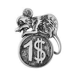 Серебряный талисман Мышонок на монете 000043217