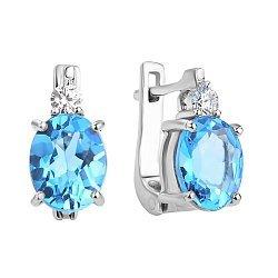 Серебряные серьги Антония с голубым топазом и цирконием